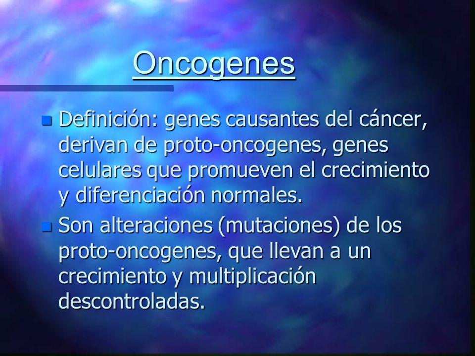Oncogenes n Definición: genes causantes del cáncer, derivan de proto-oncogenes, genes celulares que promueven el crecimiento y diferenciación normales