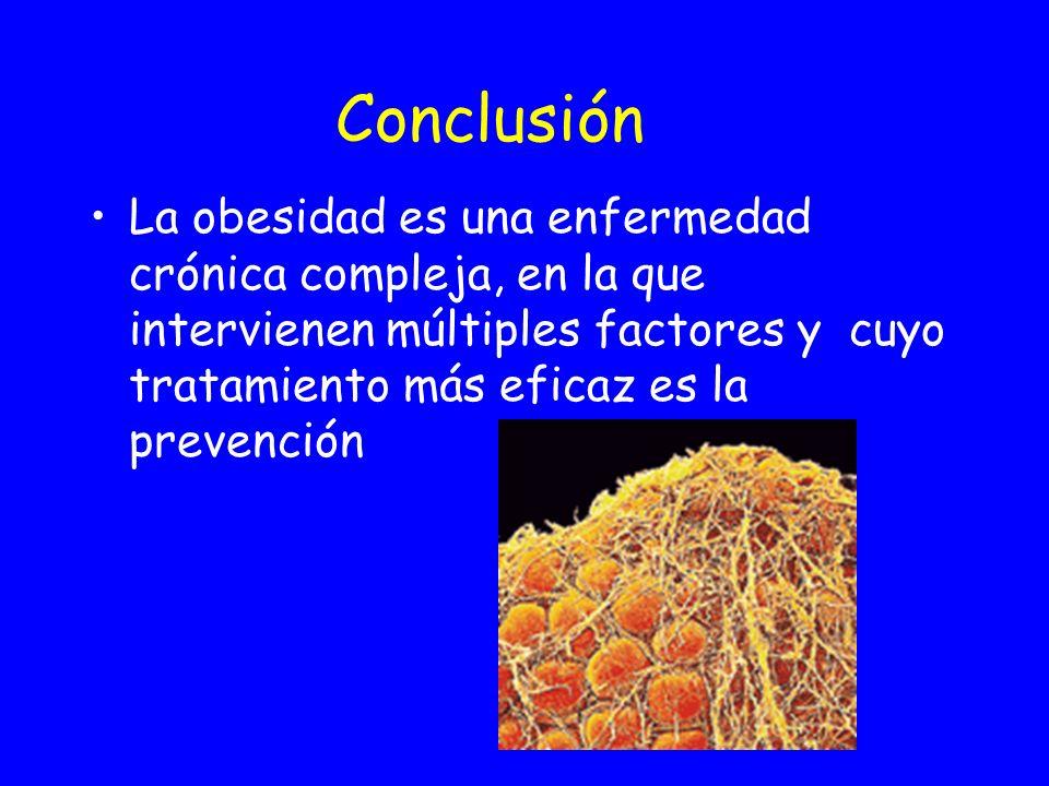 Conclusión La obesidad es una enfermedad crónica compleja, en la que intervienen múltiples factores y cuyo tratamiento más eficaz es la prevención