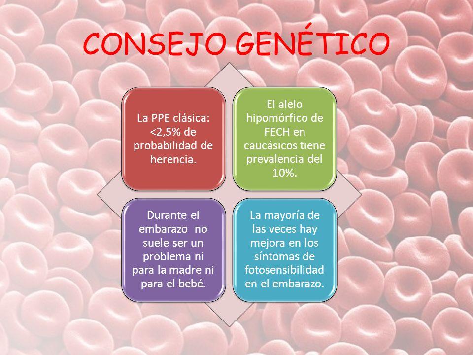 CONSEJO GENÉTICO La PPE clásica: <2,5% de probabilidad de herencia. El alelo hipomórfico de FECH en caucásicos tiene prevalencia del 10%. Durante el e