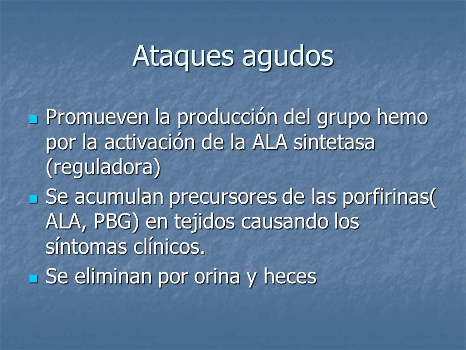 Ataques agudos Promueven la producción del grupo hemo por la activación de la ALA sintetasa (reguladora) Promueven la producción del grupo hemo por la