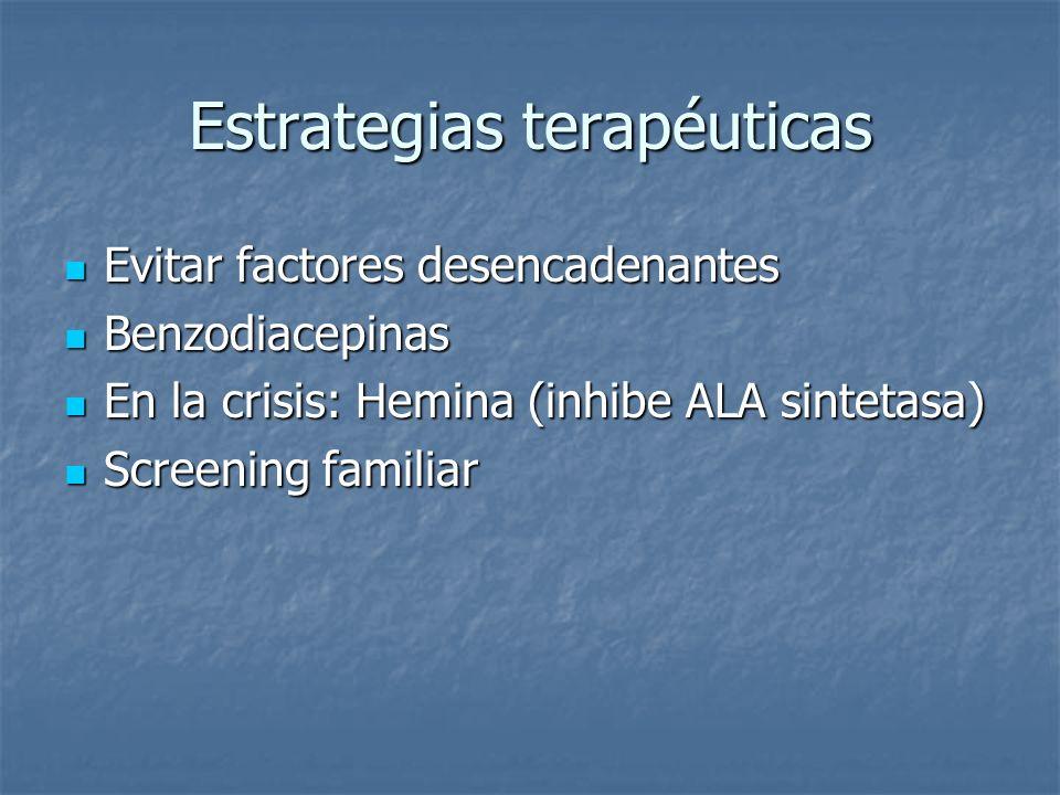 Estrategias terapéuticas Evitar factores desencadenantes Evitar factores desencadenantes Benzodiacepinas Benzodiacepinas En la crisis: Hemina (inhibe