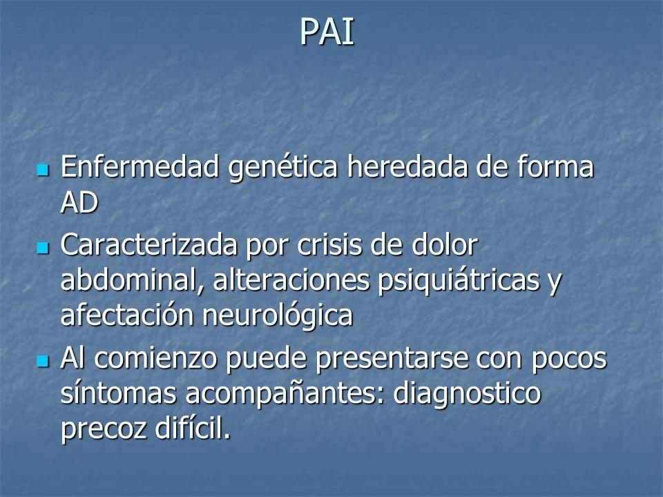 Diagnostico La rapidez es vital La rapidez es vital Debe ser considerado en cualquier paciente con síntomas sugestivos (dolor abdominal) Debe ser considerado en cualquier paciente con síntomas sugestivos (dolor abdominal) Demostrar ALA y PBG en orina son suficientes para el diagnostico Demostrar ALA y PBG en orina son suficientes para el diagnostico Muestra: orina de 24 hs Muestra: orina de 24 hs Prueba: reacción de Erlich (PBG) Prueba: reacción de Erlich (PBG)