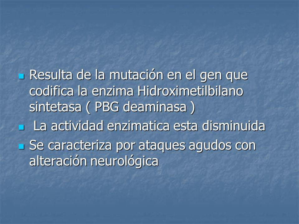 El gen de la PBG-D se encuentra en el cromosoma 11 El gen de la PBG-D se encuentra en el cromosoma 11 Se identificaron 2 formas moleculares de PBG-D en humanos: isoforma no especifica (todos los tejidos) e isoforma especifica (eritrocitos) Se identificaron 2 formas moleculares de PBG-D en humanos: isoforma no especifica (todos los tejidos) e isoforma especifica (eritrocitos) Ambas sujetas a mutaciones Ambas sujetas a mutaciones Mutaciones puntuales Mutaciones puntuales