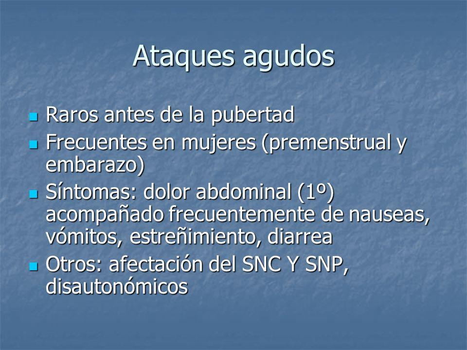 Ataques agudos Raros antes de la pubertad Raros antes de la pubertad Frecuentes en mujeres (premenstrual y embarazo) Frecuentes en mujeres (premenstru