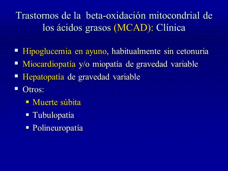Trastornos de la beta-oxidación mitocondrial de los ácidos grasos Trastornos de la beta-oxidación mitocondrial de los ácidos grasos (MCAD): Diagnóstico Sospecha clínica!!.