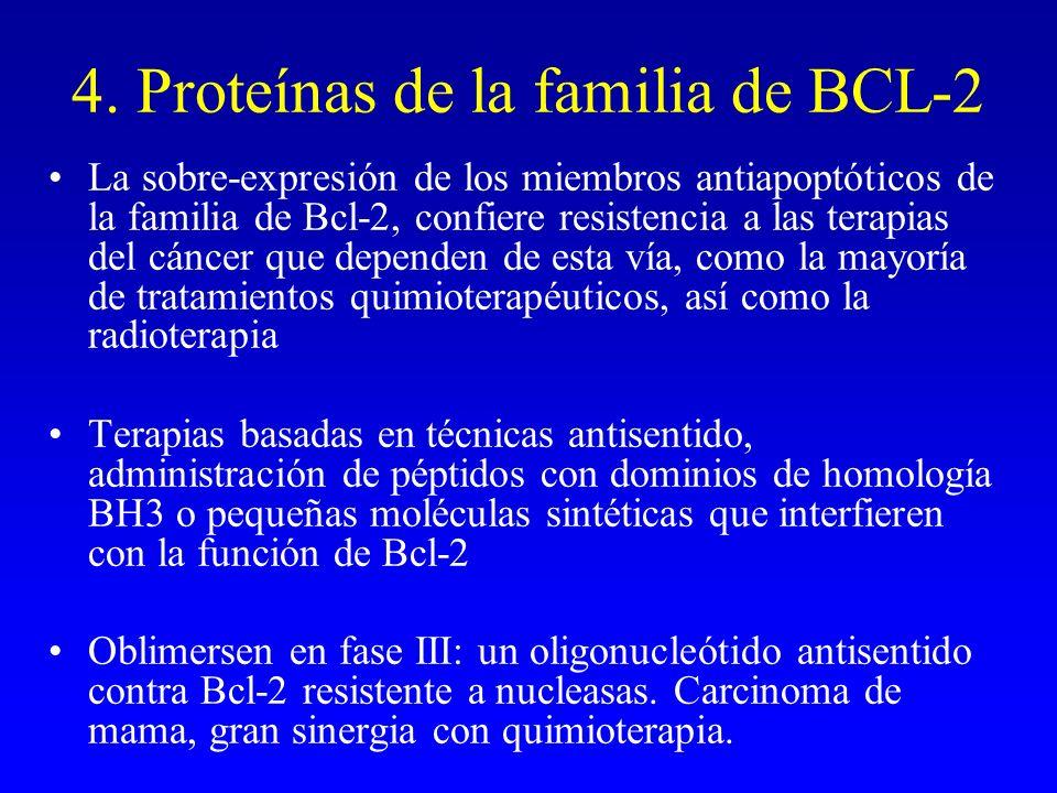 4. Proteínas de la familia de BCL-2 La sobre-expresión de los miembros antiapoptóticos de la familia de Bcl-2, confiere resistencia a las terapias del