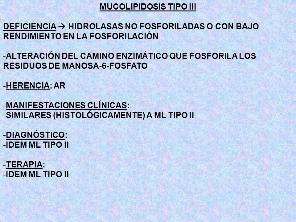 MUCOLIPIDOSIS TIPO III DEFICIENCIA HIDROLASAS NO FOSFORILADAS O CON BAJO RENDIMIENTO EN LA FOSFORILACIÓN -ALTERACIÓN DEL CAMINO ENZIMÁTICO QUE FOSFORI