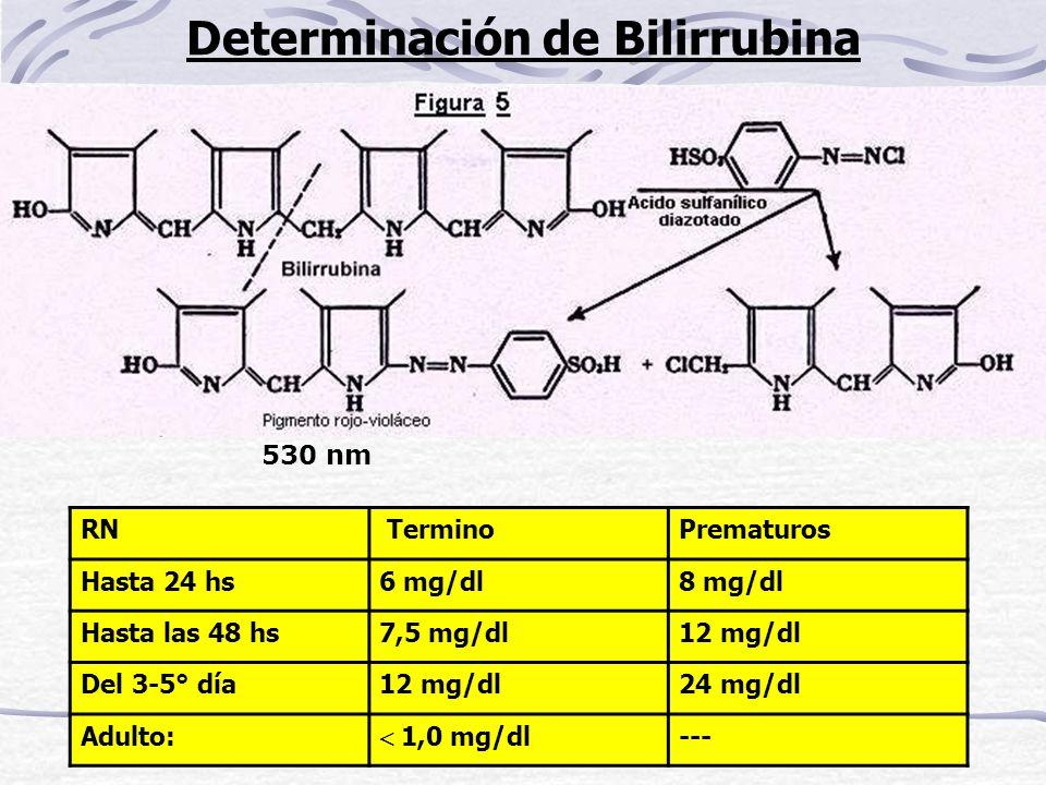 Determinación de Bilirrubina 530 nm RN TerminoPrematuros Hasta 24 hs6 mg/dl8 mg/dl Hasta las 48 hs7,5 mg/dl12 mg/dl Del 3-5° día12 mg/dl24 mg/dl Adult