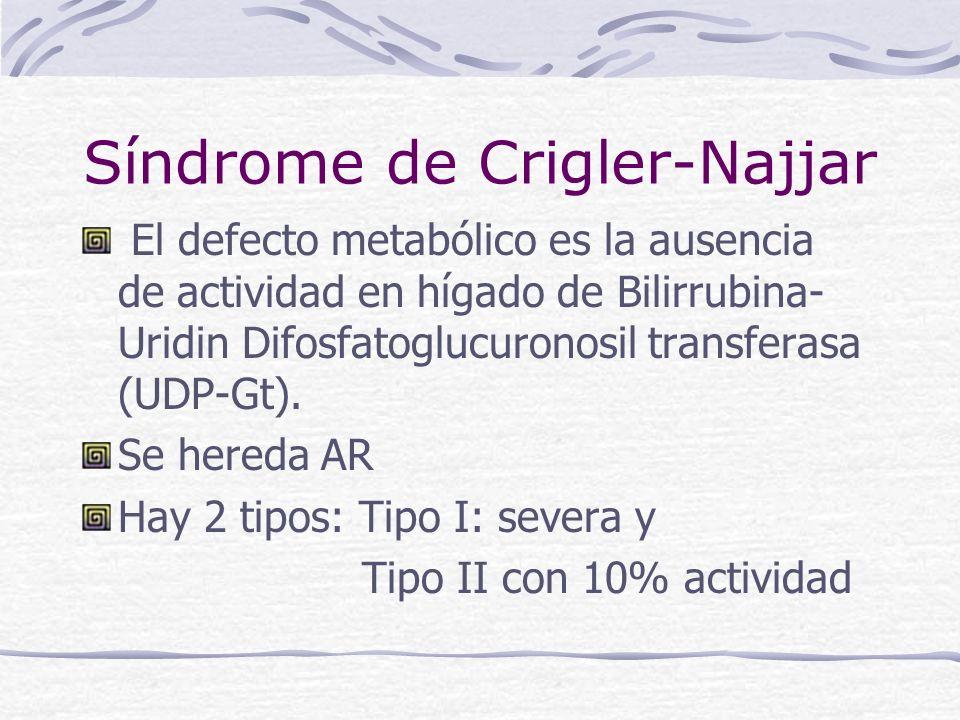 Síndrome de Crigler-Najjar El defecto metabólico es la ausencia de actividad en hígado de Bilirrubina- Uridin Difosfatoglucuronosil transferasa (UDP-G
