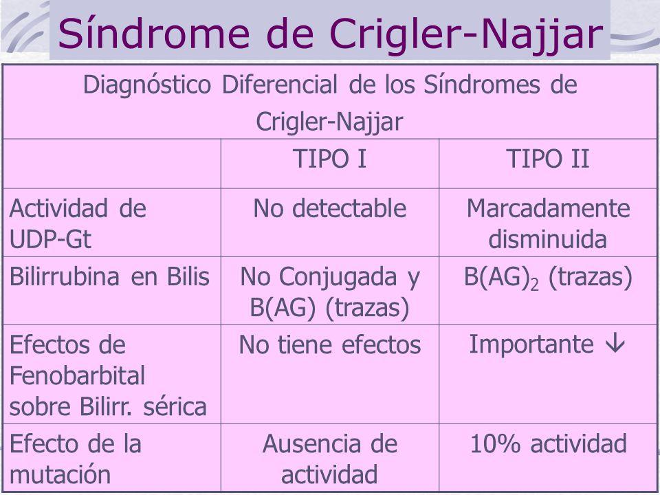 Síndrome de Crigler-Najjar Diagnóstico Diferencial de los Síndromes de Crigler-Najjar TIPO ITIPO II Actividad de UDP-Gt No detectableMarcadamente dism