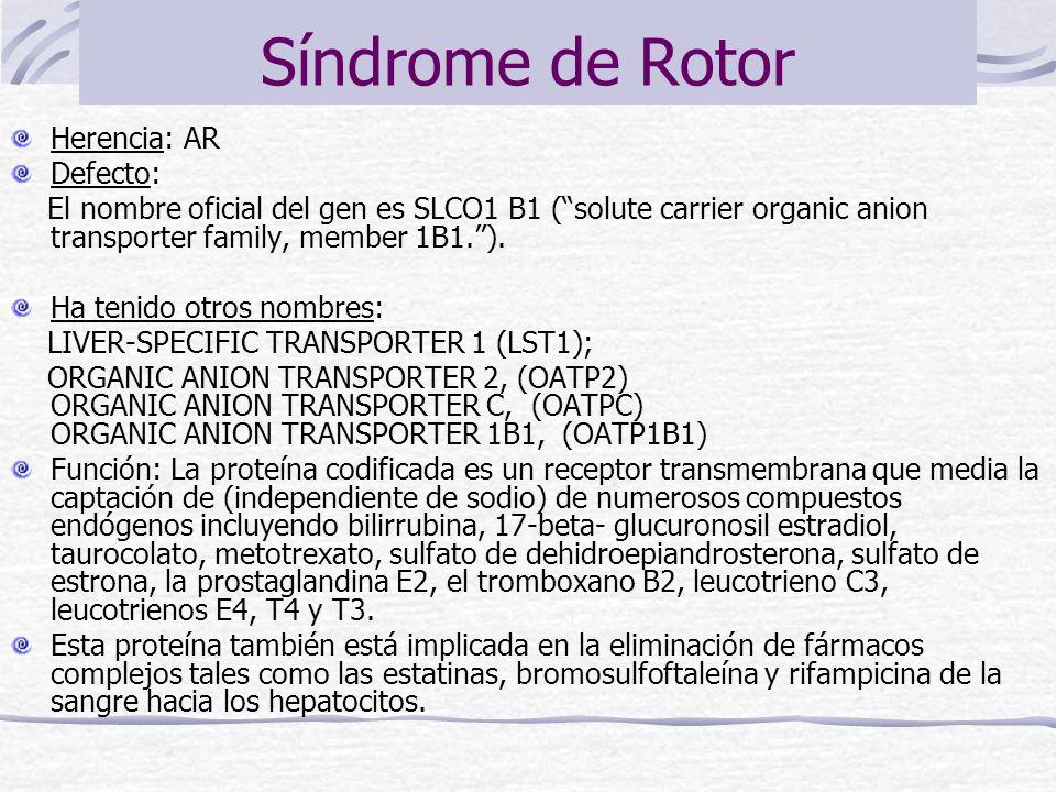 Síndrome de Rotor Herencia: AR Defecto: El nombre oficial del gen es SLCO1 B1 (solute carrier organic anion transporter family, member 1B1.). Ha tenid