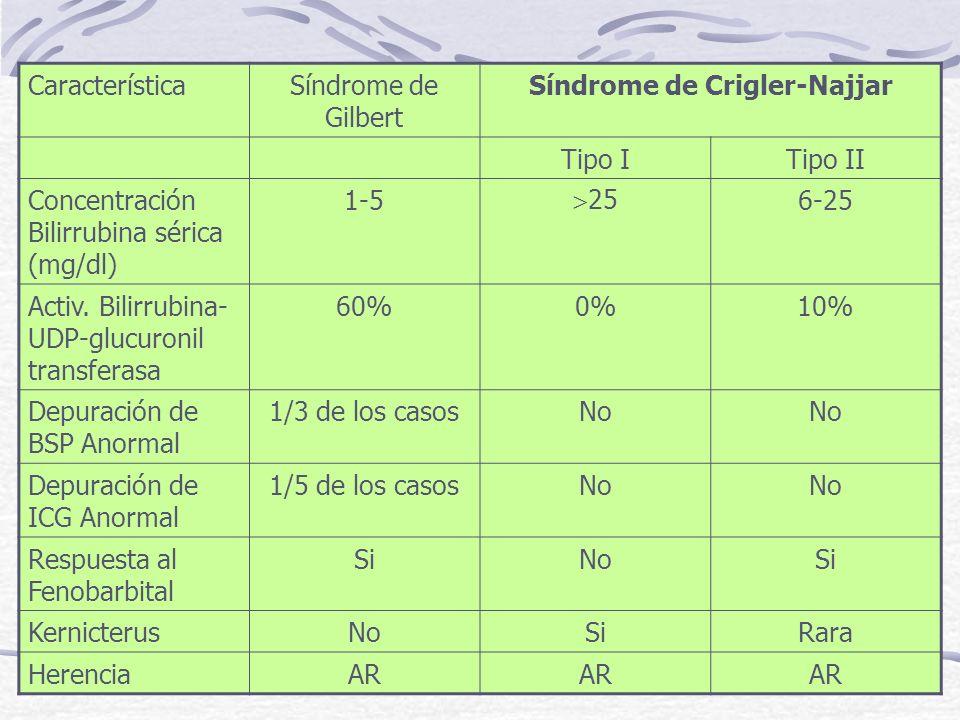 CaracterísticaSíndrome de Gilbert Síndrome de Crigler-Najjar Tipo ITipo II Concentración Bilirrubina sérica (mg/dl) 1-5 25 6-25 Activ. Bilirrubina- UD