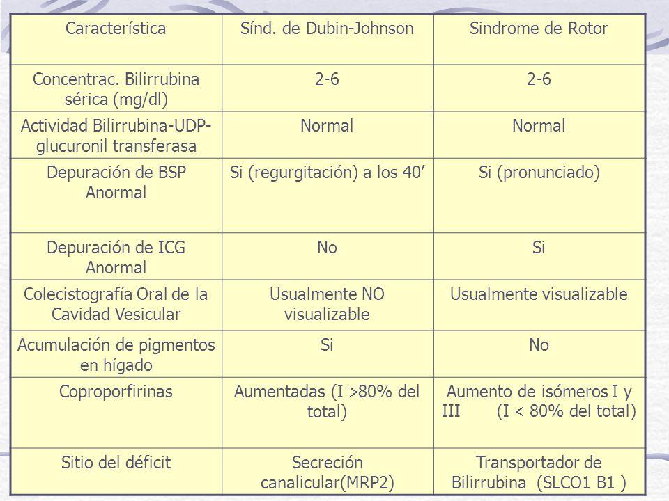 CaracterísticaSínd. de Dubin-JohnsonSindrome de Rotor Concentrac. Bilirrubina sérica (mg/dl) 2-6 Actividad Bilirrubina-UDP- glucuronil transferasa Nor