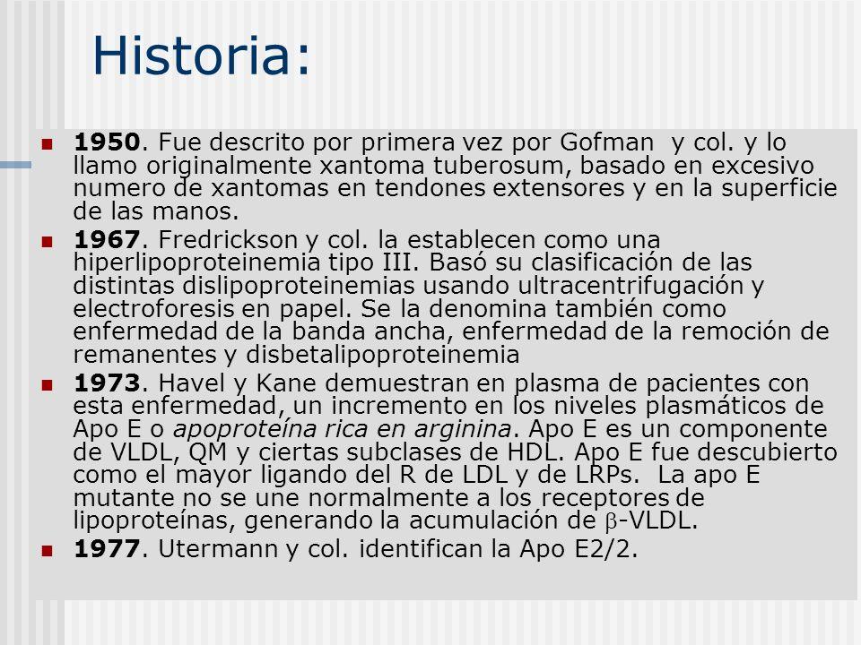 Historia: 1950. Fue descrito por primera vez por Gofman y col. y lo llamo originalmente xantoma tuberosum, basado en excesivo numero de xantomas en te