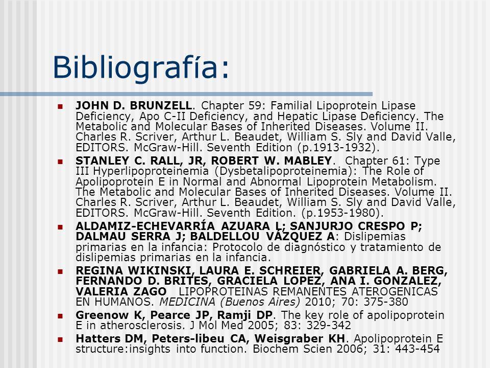Bibliograf í a: JOHN D. BRUNZELL. Chapter 59: Familial Lipoprotein Lipase Deficiency, Apo C-II Deficiency, and Hepatic Lipase Deficiency. The Metaboli