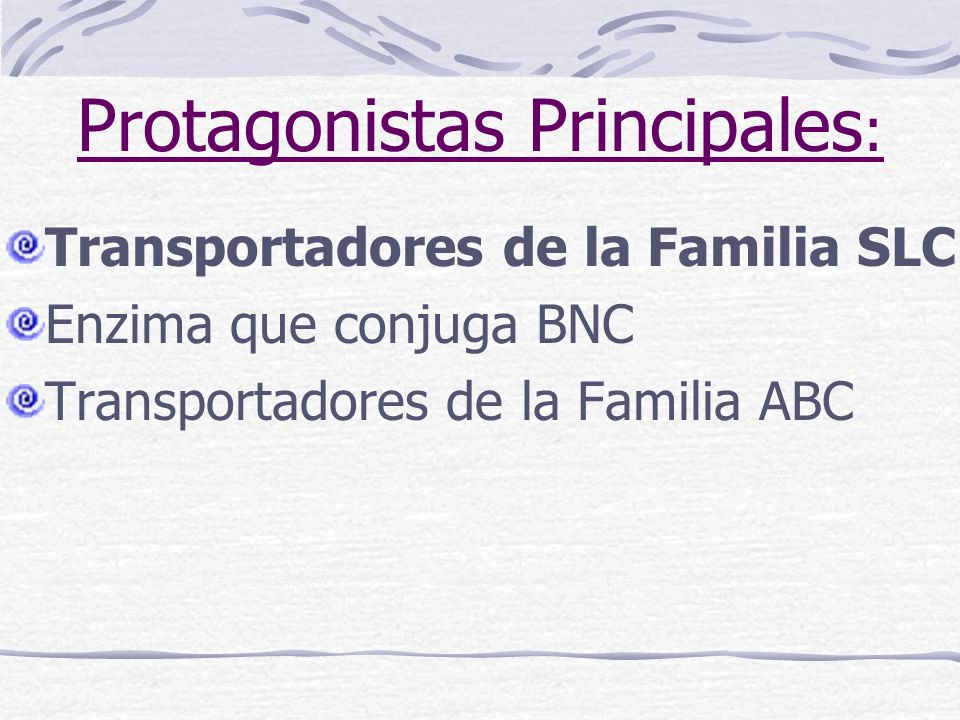 Protagonistas Principales : Transportadores de la Familia SLC Enzima que conjuga BNC Transportadores de la Familia ABC