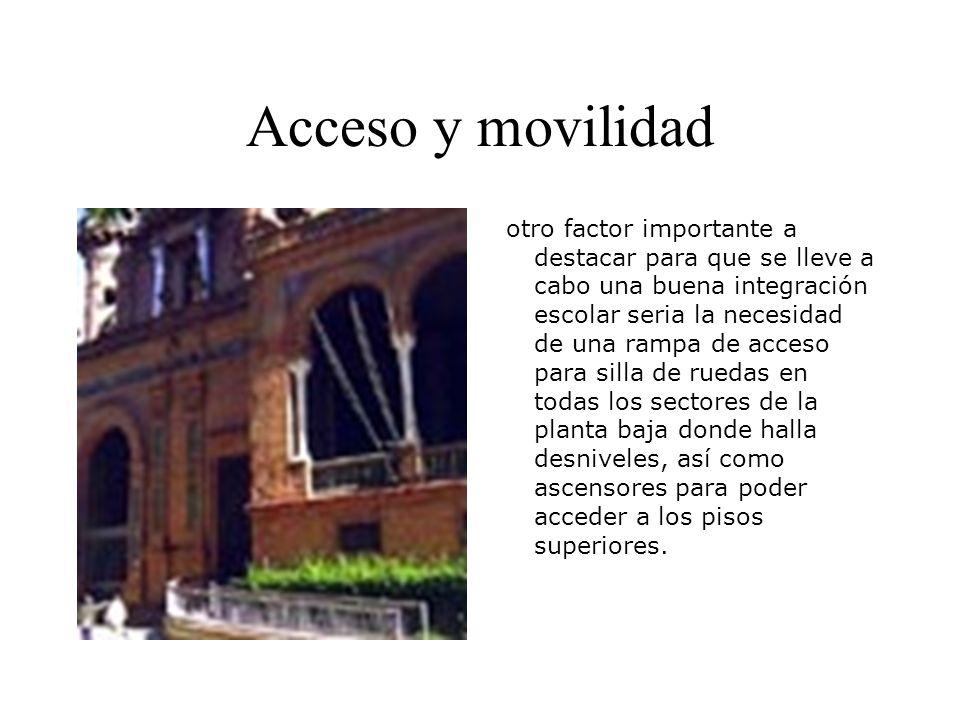 Acceso y movilidad otro factor importante a destacar para que se lleve a cabo una buena integración escolar seria la necesidad de una rampa de acceso