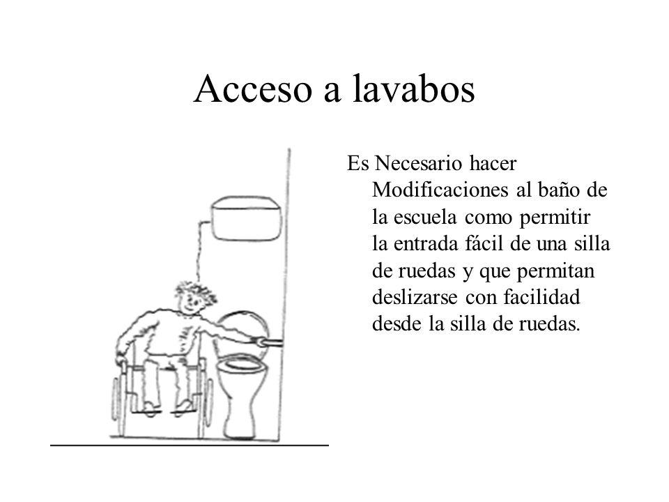 Acceso a lavabos Es Necesario hacer Modificaciones al baño de la escuela como permitir la entrada fácil de una silla de ruedas y que permitan deslizar