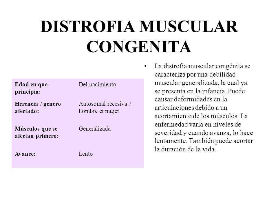 DISTROFIA MUSCULAR CONGENITA La distrofia muscular congénita se caracteriza por una debilidad muscular generalizada, la cual ya se presenta en la infa
