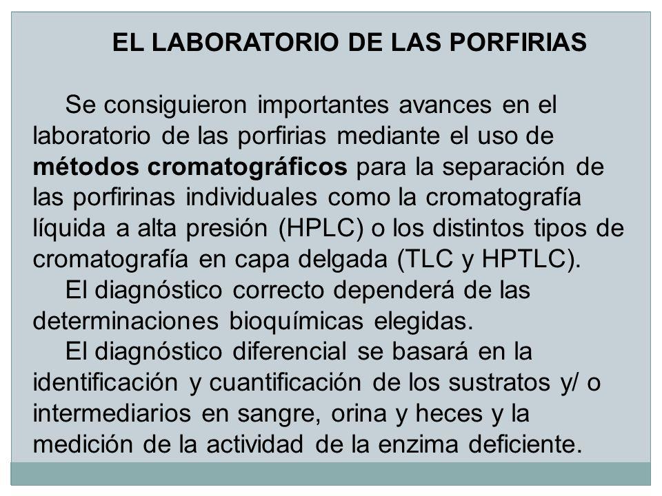 EL LABORATORIO DE LAS PORFIRIAS Se consiguieron importantes avances en el laboratorio de las porfirias mediante el uso de métodos cromatográficos para