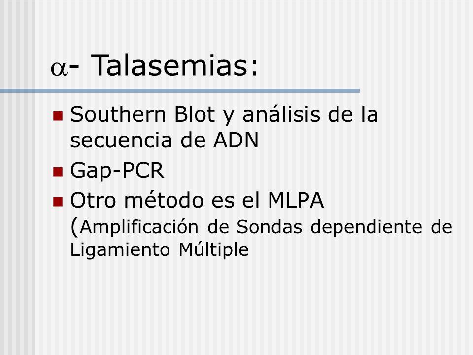 Southern Blot y análisis de la secuencia de ADN Gap-PCR Otro método es el MLPA ( Amplificación de Sondas dependiente de Ligamiento Múltiple - Talasemi