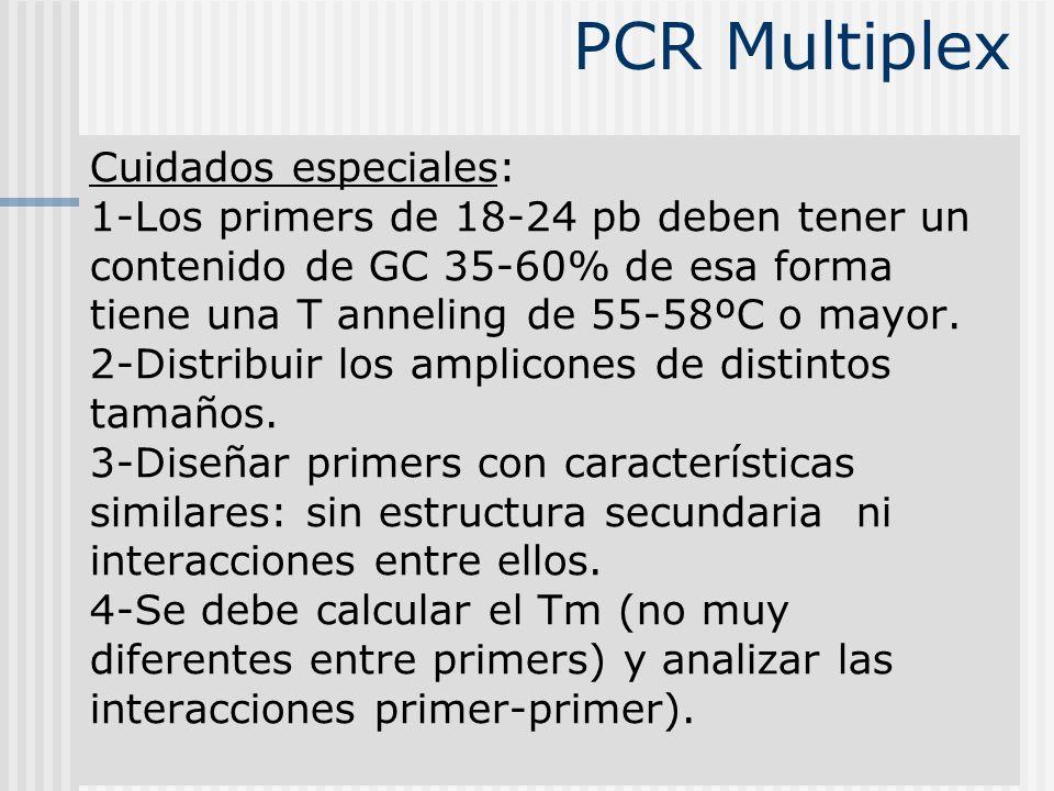 Cuidados especiales: 1-Los primers de 18-24 pb deben tener un contenido de GC 35-60% de esa forma tiene una T anneling de 55-58ºC o mayor. 2-Distribui
