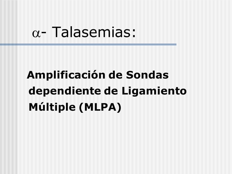 - Talasemias: Amplificación de Sondas dependiente de Ligamiento Múltiple (MLPA)