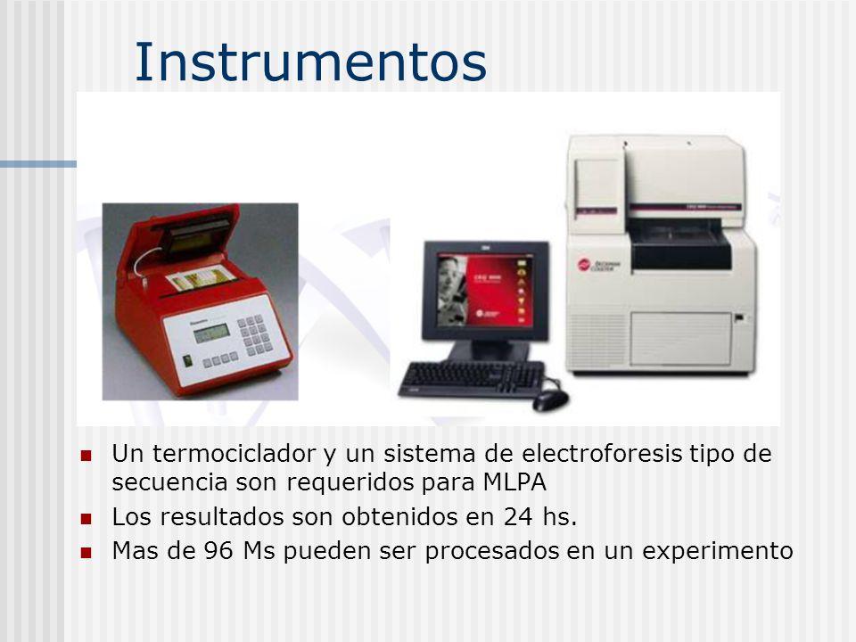 Instrumentos Un termociclador y un sistema de electroforesis tipo de secuencia son requeridos para MLPA Los resultados son obtenidos en 24 hs. Mas de