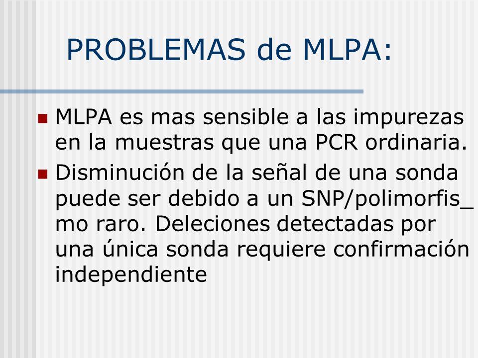 PROBLEMAS de MLPA: MLPA es mas sensible a las impurezas en la muestras que una PCR ordinaria. Disminución de la señal de una sonda puede ser debido a