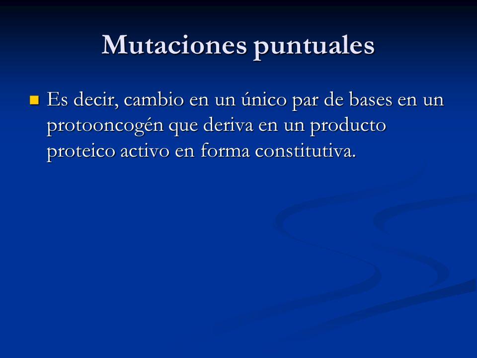 Mutaciones puntuales Es decir, cambio en un único par de bases en un protooncogén que deriva en un producto proteico activo en forma constitutiva. Es