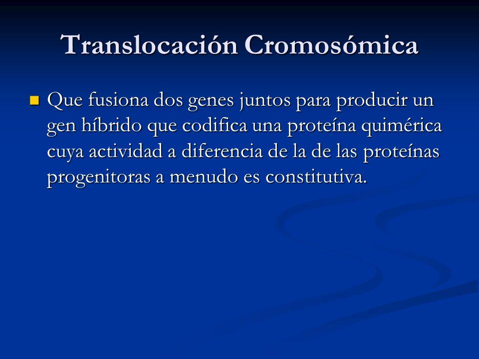Translocación Cromosómica Que fusiona dos genes juntos para producir un gen híbrido que codifica una proteína quimérica cuya actividad a diferencia de la de las proteínas progenitoras a menudo es constitutiva.