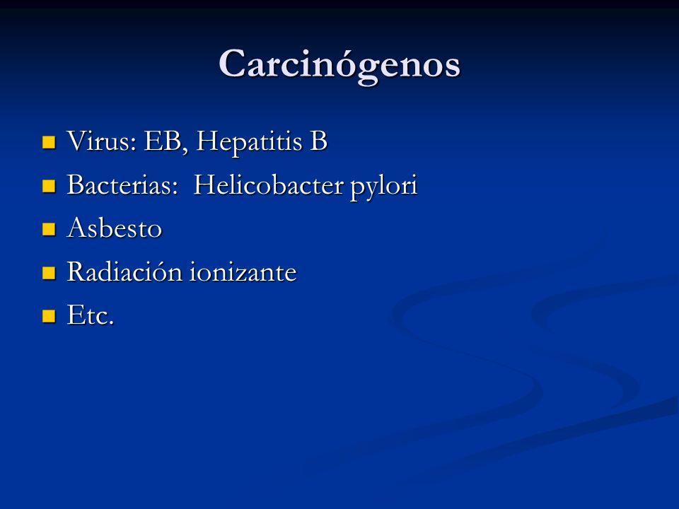 Carcinógenos Virus: EB, Hepatitis B Virus: EB, Hepatitis B Bacterias: Helicobacter pylori Bacterias: Helicobacter pylori Asbesto Asbesto Radiación ionizante Radiación ionizante Etc.