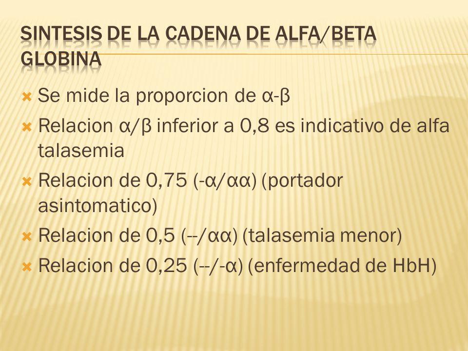 Se mide la proporcion de α-β Relacion α/β inferior a 0,8 es indicativo de alfa talasemia Relacion de 0,75 (-α/αα) (portador asintomatico) Relacion de