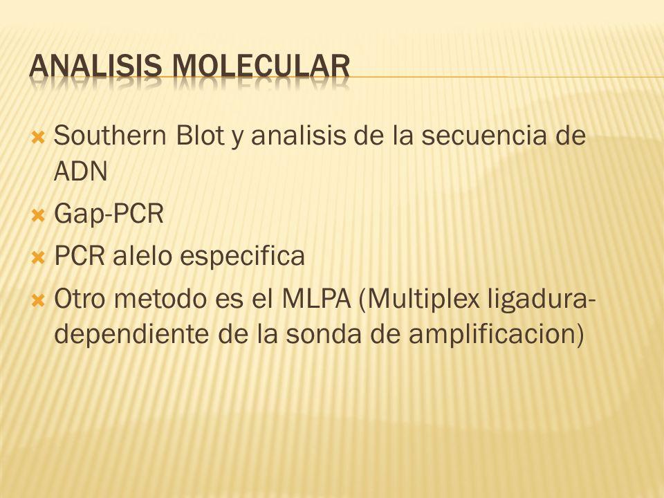 Southern Blot y analisis de la secuencia de ADN Gap-PCR PCR alelo especifica Otro metodo es el MLPA (Multiplex ligadura- dependiente de la sonda de am