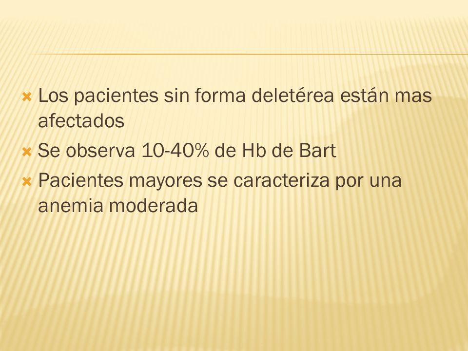 Los pacientes sin forma deletérea están mas afectados Se observa 10-40% de Hb de Bart Pacientes mayores se caracteriza por una anemia moderada