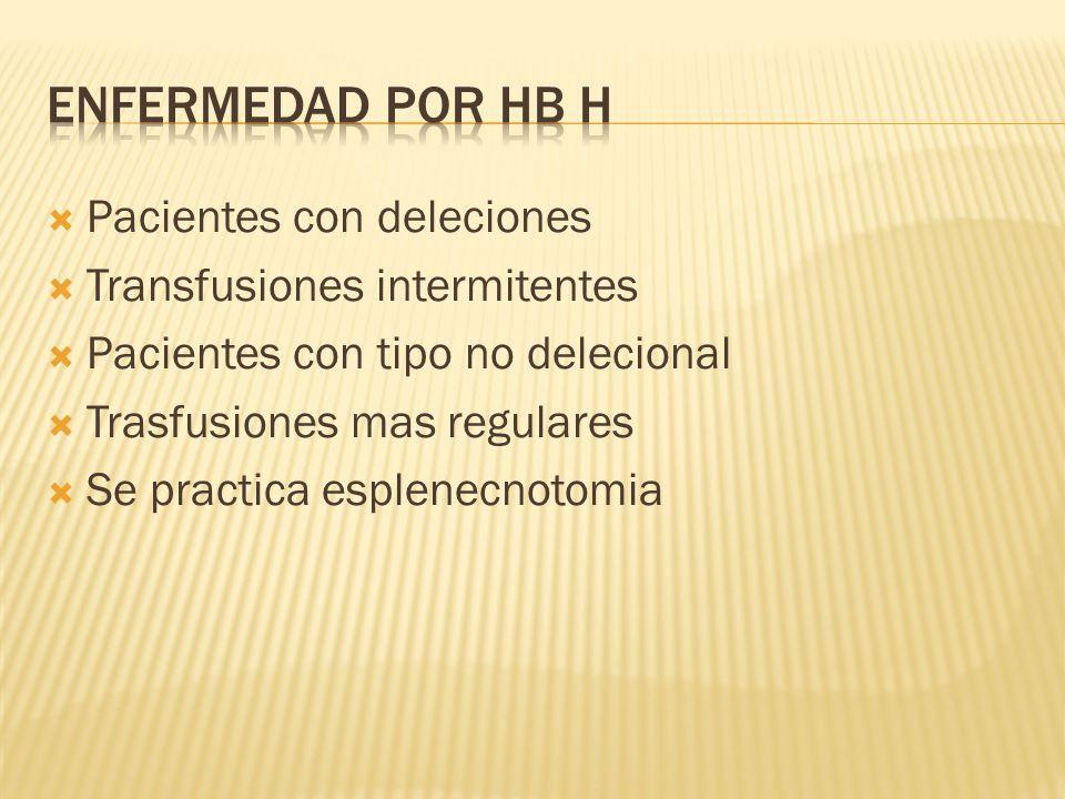 Pacientes con deleciones Transfusiones intermitentes Pacientes con tipo no delecional Trasfusiones mas regulares Se practica esplenecnotomia