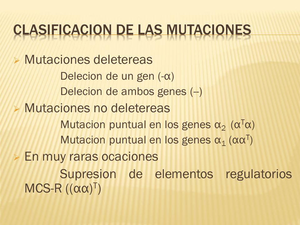 Mutaciones deletereas Delecion de un gen (-α) Delecion de ambos genes (--) Mutaciones no deletereas Mutacion puntual en los genes α 2 (α T α) Mutacion