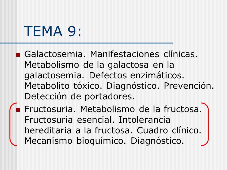 Trastornos del metabolismo de la Fructosa Fructosuria esencial Intolerancia hereditaria a la fructuosa Deficiencia hereditaria de fructosa 1,6 bifosfatasa