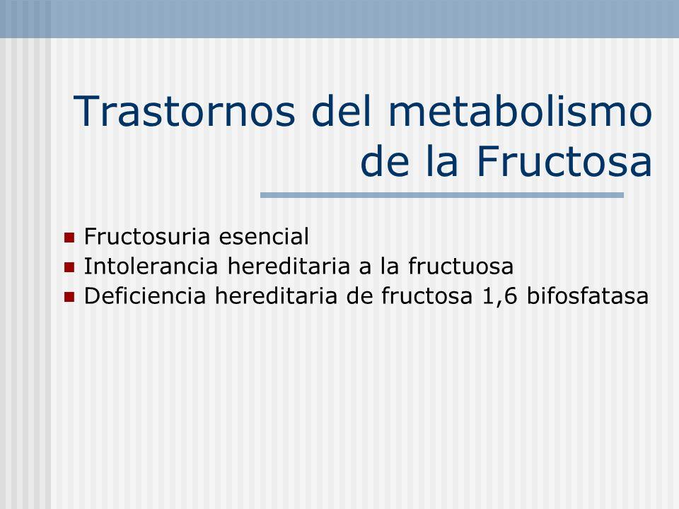 Trastornos del metabolismo de la Fructosa Fructosuria esencial Intolerancia hereditaria a la fructuosa Deficiencia hereditaria de fructosa 1,6 bifosfa