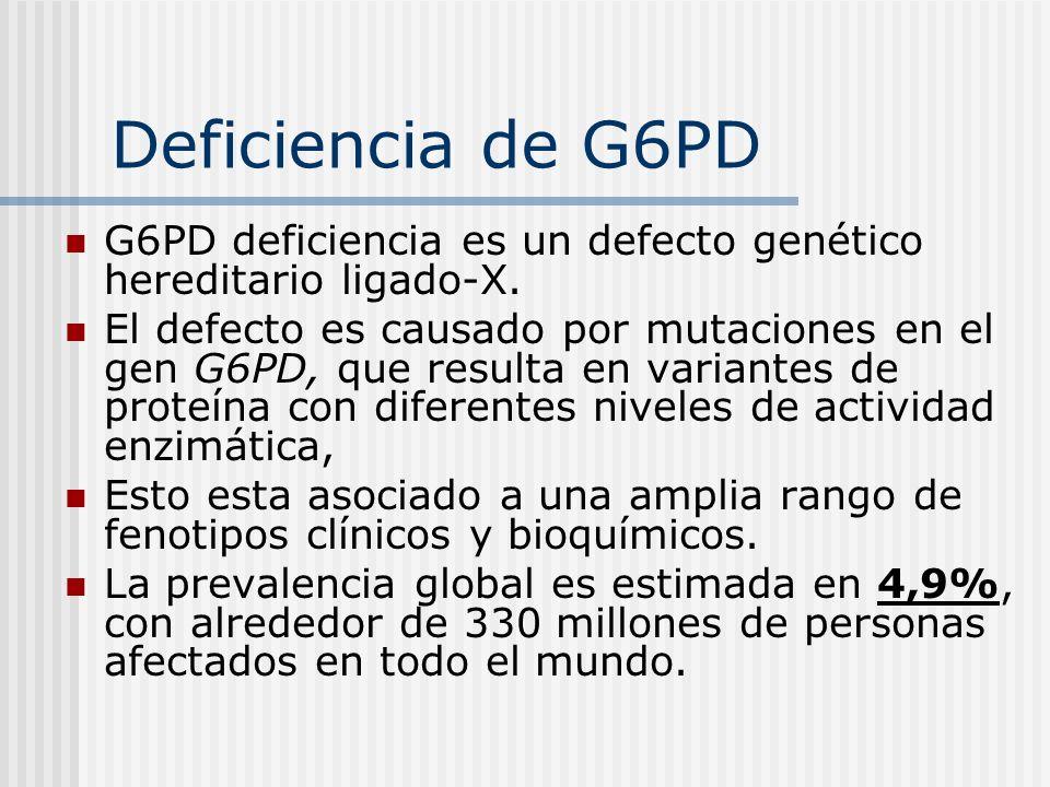 Deficiencia de G6PD G6PD deficiencia es un defecto genético hereditario ligado-X. El defecto es causado por mutaciones en el gen G6PD, que resulta en