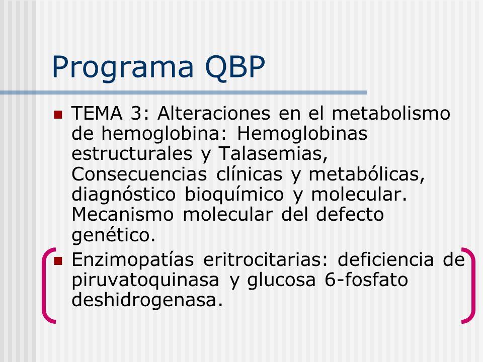 Programa QBP TEMA 3: Alteraciones en el metabolismo de hemoglobina: Hemoglobinas estructurales y Talasemias, Consecuencias clínicas y metabólicas, dia