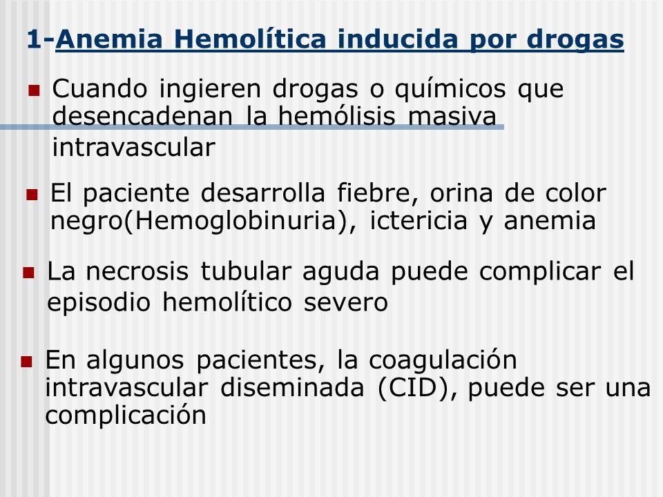 1-Anemia Hemolítica inducida por drogas El paciente desarrolla fiebre, orina de color negro(Hemoglobinuria), ictericia y anemia La necrosis tubular ag