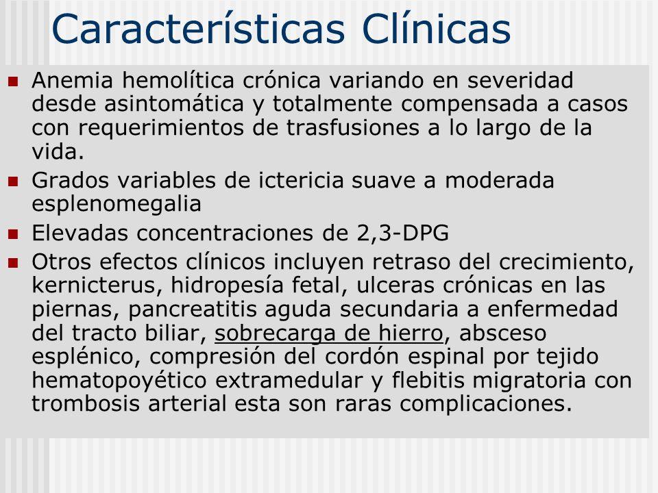Características Clínicas Anemia hemolítica crónica variando en severidad desde asintomática y totalmente compensada a casos con requerimientos de tras