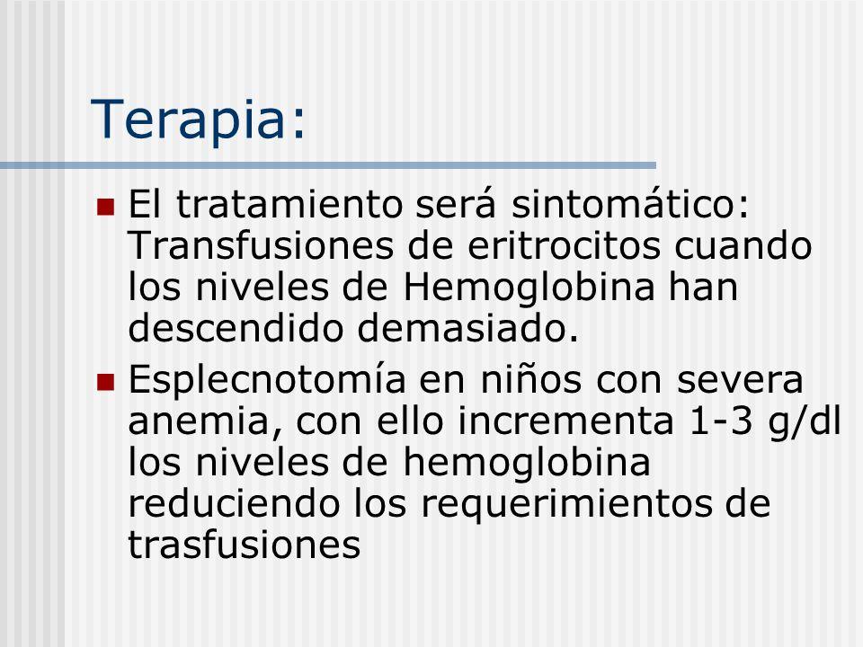 Terapia: El tratamiento será sintomático: Transfusiones de eritrocitos cuando los niveles de Hemoglobina han descendido demasiado. Esplecnotomía en ni