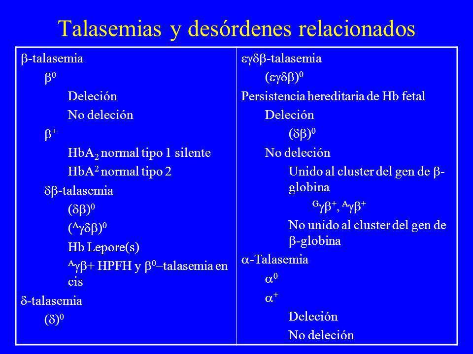 Talasemias y desórdenes relacionados -talasemia 0 Deleción No deleción + HbA 2 normal tipo 1 silente HbA 2 normal tipo 2 -talasemia ( ) 0 ( A ) 0 Hb L