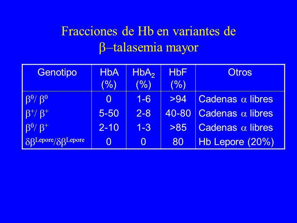 Fracciones de Hb en variantes de –talasemia mayor GenotipoHbA (%) HbA 2 (%) HbF (%) Otros 0 / 0 + / + 0 / + Lepore / Lepore 0 5-50 2-10 0 1-6 2-8 1-3