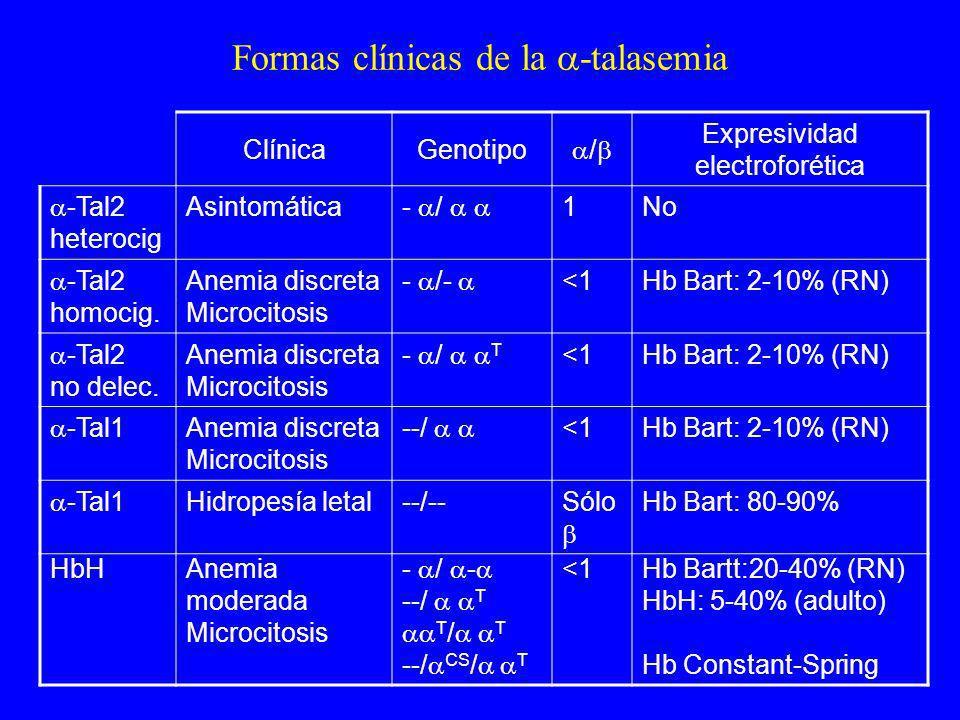 Formas clínicas de la -talasemia ClínicaGenotipo / Expresividad electroforética -Tal2 heterocig Asintomática - / 1No -Tal2 homocig. Anemia discreta Mi