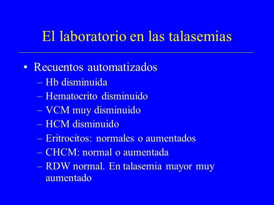 El laboratorio en las talasemias Recuentos automatizados –Hb disminuida –Hematocrito disminuido –VCM muy disminuido –HCM disminuido –Eritrocitos: norm