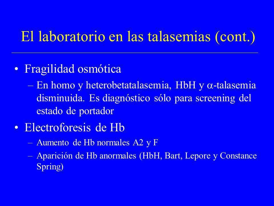 El laboratorio en las talasemias (cont.) Fragilidad osmótica –En homo y heterobetatalasemia, HbH y -talasemia disminuida. Es diagnóstico sólo para scr
