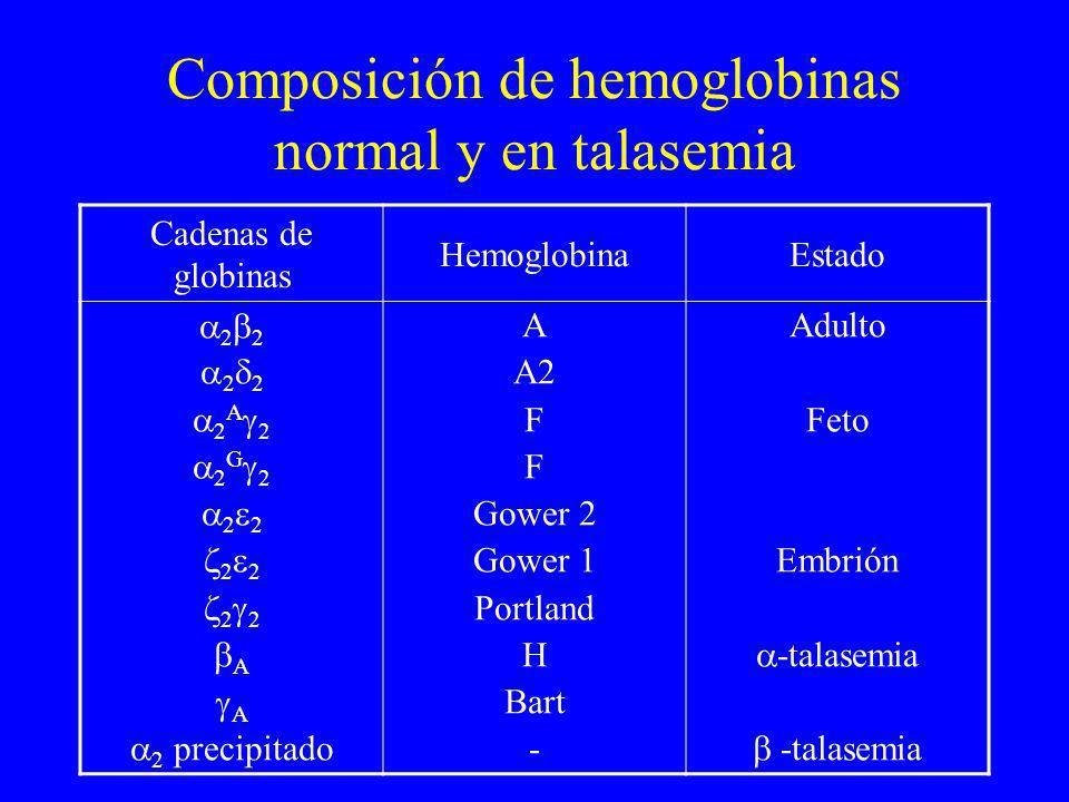 Composición de hemoglobinas normal y en talasemia Cadenas de globinas HemoglobinaEstado 2 2 2 A 2 2 G 2 2 2 2 A 2 precipitado A A2 F Gower 2 Gower 1 P